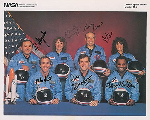 Space Shuttle Challenger Sts 51l Crew Printed Photograph Signed In Ink with co signers