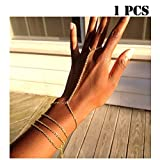 VITORIA'S GIFT Women Hand Chain Attached Bangle Jewelry Slave Chain Link Finger Bracelet Jewelry