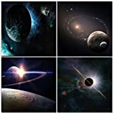 Natural art -Outer Space Planet Painting Canvas Prints Wall Decoration Wooden Frame 4pcs/set