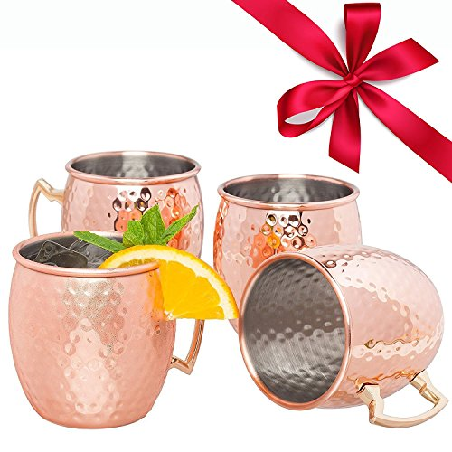 Moscow Mule Copper Mugs Set of 4 - 18oz Hand Hammered Moscow Mule Mugs with Stainless Steel Lining, Drinking Mug Moscow Mule Gift Set and Cocktail Recipes eBook