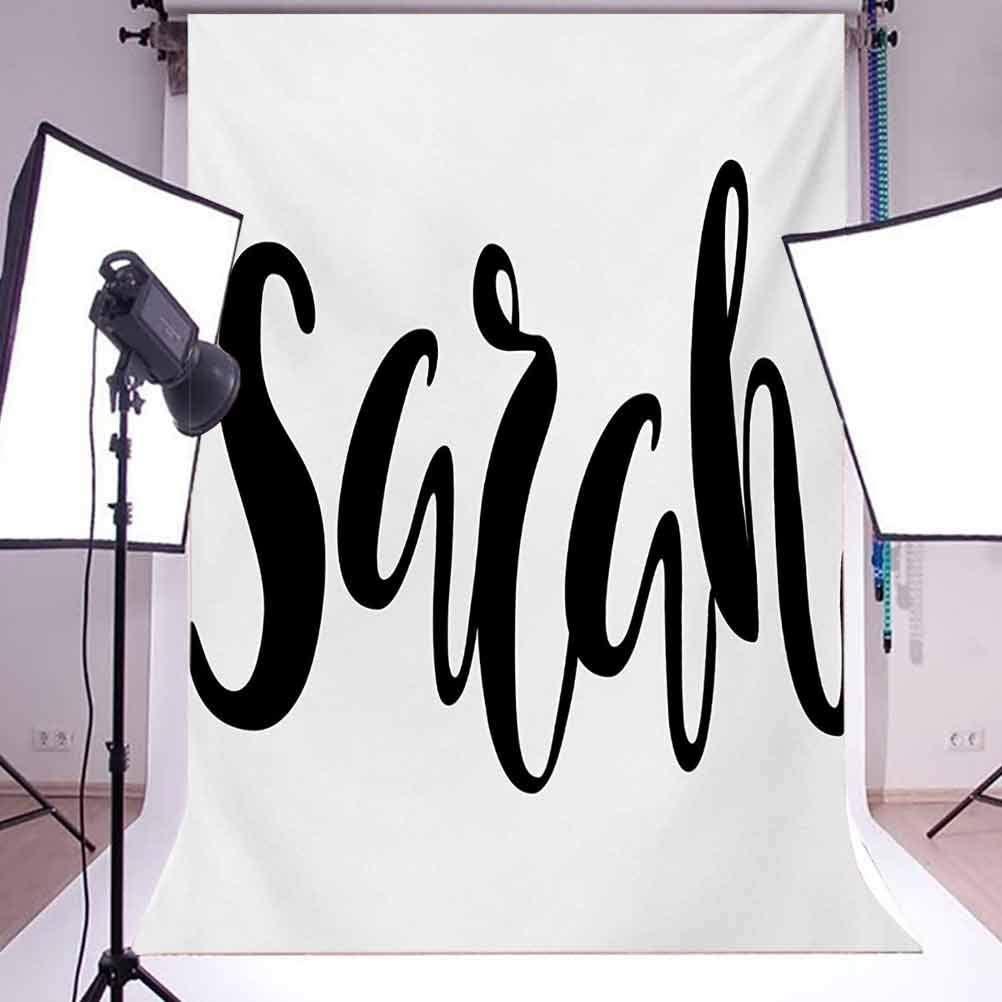 Sarah 10x12 FT Photo Backdrops,Monochrome Popular Female Name Modern Calligraphy Hand Drawn Signature Lettering Background for Baby Shower Birthday Wedding Bridal Shower Party Decoration Photo Studio