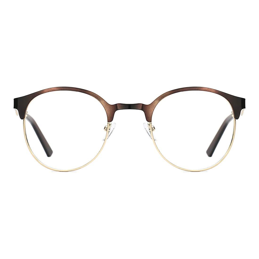 TIJN Neue Rund Metall Brillengestelle Herren Brille Ohne St/ärke Metallgestell Brillenfassung Damen Herren