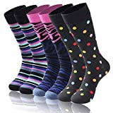 Diwollsam Elite Funky Socks Crew, Womens Mens Holiday Gift Business Present Fashion Stripe Pattern Casual Wedding Party Golf Dress Socks, 6 Pairs(Fun Style, M)
