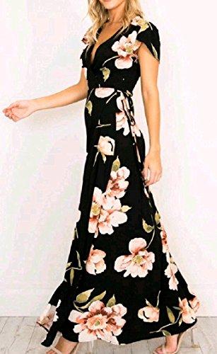 Coolred-femmes Divisées Robe De Bal À Manches Courtes Peinture Tunique Élégante Florale Tribale Maxi Longue Robe Noire