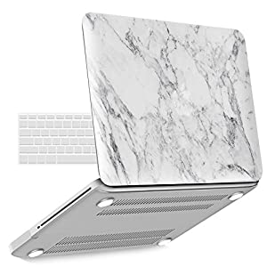 "iBenzer Basic Soft-Touch Series Plastic Hard Case & Keyboard Cover for Apple MacBook Pro 13-inch 13"" with CD-ROM A1278 (Previous Generation) (White Marble)"