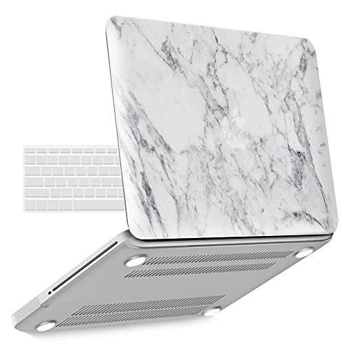iBenzer Old MacBook Pro 13 Inch case A1278, Soft Touch Hard Case Shell Cover with Keyboard Cover for Apple MacBook Pro 13 with CD-ROM, White Marble MMP1301WHMB+1