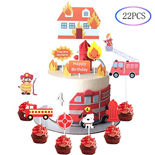 Firefighter Cake Topper (22Pcs Firefighter Themed Fire Truck Cupcake Toppers Baby Shower Birthday)