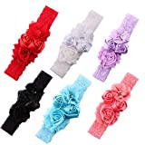 Baby Girls Headband Chiffon Flower Lace Turban Head Wrap With Pearl Newborn Hair Accessories (6 color package A)
