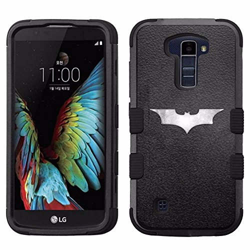 for LG K10, Hard+Rubber Dual Layer Hybrid Heavy-Duty Rugged Armor Cover Case - Batman #S at Gotham City Store