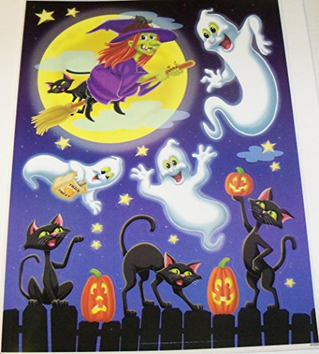 Halloween Reusable Window Cling ~ Flying Witch, Happy Ghosts, Black Cats and Pumpkins on Fence (9 Clings, 1 Sheet)
