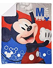 EXPRESSIONS Kid's Sherpa Throw Blanket Mickey Mouse 60x80 inch Reversible Cozy Plush Super Soft Blanket for Boys (Official Disney Product)