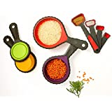 Lennie Cook Collapsible Silicone Measuring Cups & Measuring Spoons Set, Portable 8-Peace Set, 8 Sizes