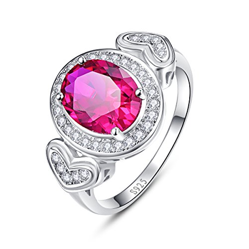 Oval Cut Created Ruby (Avecon Oval Cut Created Ruby & Round Cut CZ Pure 925 Sterling Silver Anniversary Ring for Women Size 6)