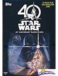 2017 Topps Star Wars 40th Anniversary EXCLUSIVE Factory Sealed Retail Box with 10 Packs & SPECIAL MEDALLION Card! Look for Inserts, Parallels & Autographs from Across the Star Wars Galaxy! Wowzzer!