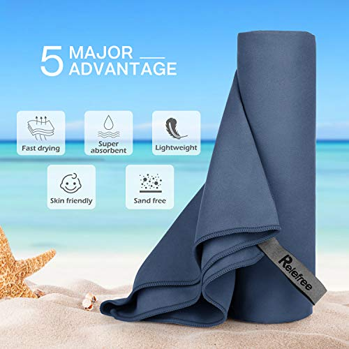 Relefree Microfiber Towel, Yoga & Gym Towels Quick Dry, Super Ultra Absorbent, and Compact Suitable for Beach Travel Camping, Swimming, Backpacking