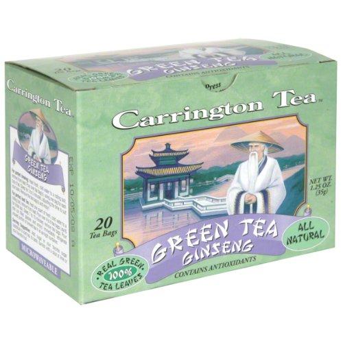 Carrington Tea Green Tea, Ginseng, 20 Tea Bags (Pack of 6) - Carrington Green Tea Tea