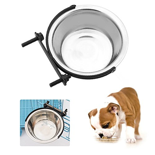 (OWIKAR Dog Bowls Stainless Steel for Small Medium Dogs 8.27 x 2.76 inch Hanging On The cage Removable Pet Bowls Bird Cat Puppy Dogs Food Water Bowl with Fixed Mount (L))