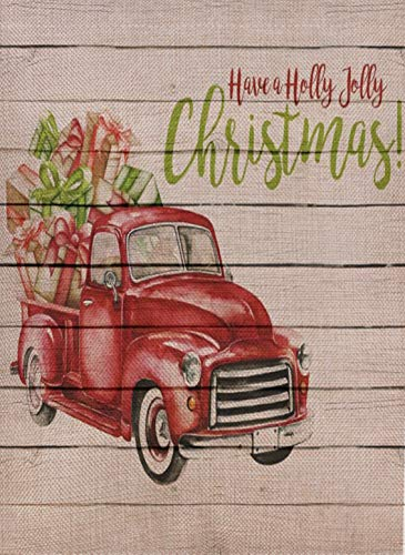 Holly Jolly Charm - Selmad Home Decorative Holly Jolly Christmas Garden Flag Red Truck Double Sided, Rustic Xmas Quote House Yard Flag Pickup, Holidays Garden Decorations, Farmhouse New Year Seasonal Outdoor Flag 12 x 18