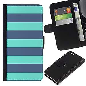 Planetar® Modelo colorido cuero carpeta tirón caso cubierta piel Holster Funda protección Para Apple (4.7 inches!!!) iPhone 6 ( Sailor Stripes Horizontal Blue )