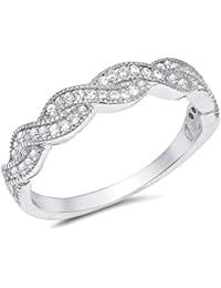 Clear Cubic Zirconia Braided Band Ring Sterling Silver