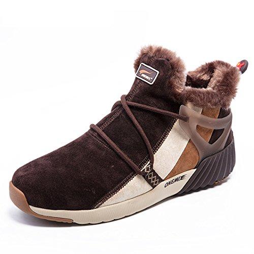Onemix Nueva Llegada De Los Hombres Y Las Mujeres De Piel Forrada Botas De Nieve De Invierno Tobillo-alta Zapatillas De Deporte De Color Marrón Oscuro