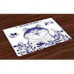 Ambesonne Alaskan Malamute Place Mats Set of 4, Happy Doggy in Blossoming Spring Field with Singing Birds and Flowers, Washable Fabric Placemats for Dining Room Kitchen Table Decor, White Indigo 5