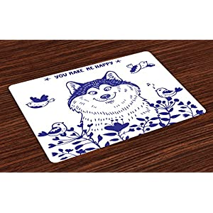 Ambesonne Alaskan Malamute Place Mats Set of 4, Happy Doggy in Blossoming Spring Field with Singing Birds and Flowers, Washable Fabric Placemats for Dining Room Kitchen Table Decor, White Indigo 19