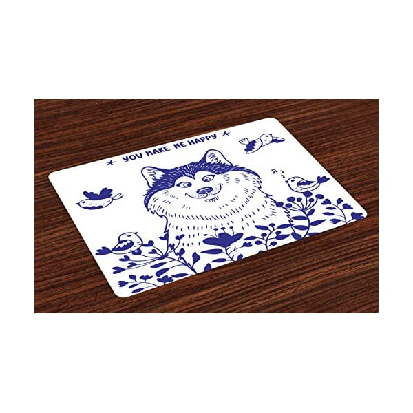 Ambesonne Alaskan Malamute Place Mats Set of 4, Happy Doggy in Blossoming Spring Field with Singing Birds and Flowers, Washable Fabric Placemats for Dining Room Kitchen Table Decor, White Indigo 1