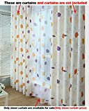 Aside Bside Ball Flowers Printed Lounge Style Rod Pockets Voile Panels Home Treatment Sheer Curtains For Kitchen Houseroom and Child Room (1 Panel, W 52 x L 63 inch, Multicolored)
