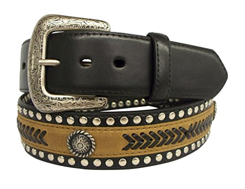 G-Bar-D Western Belt Mens Leather Silver Finish 46 Black 5710500
