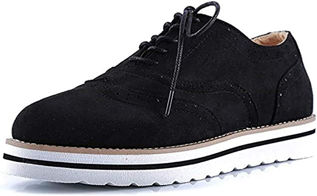 Zapatos Planos con Cordones Mujer Brogue Zapato Talón Plano ...