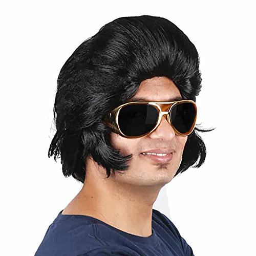 HUALIL Men's 1950's Rock 'n Roll Black Wig Elvis Cosplay Party Accessories (Only Wig)]()