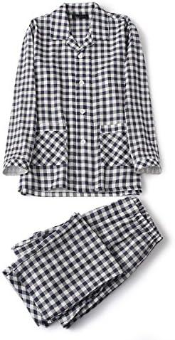 パジャマ メンズ 長袖 綿100 前開き 二重 ガーゼ 上下 セット (LL, ネイビー)