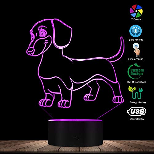 Dachshund Lighting - The Geeky Days Dachshund LED Night Light 3D Decorative Lighting Color Changing Acrylic Lamp Gift for Dog Lovers