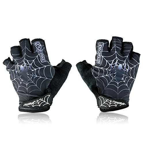 Qepae Cycling Bike Outdoor Sports Bicycle Spider Pattern Anti-Slip Breathable Half-Finger ()