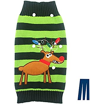 Mikayoo pet sweater for small dog/cat,Ugly Sweater,Color Horizontal Stripes ,Christmas Holiday Xmas, Elk Series, Reindeer series,with Lights and Snowball(M)