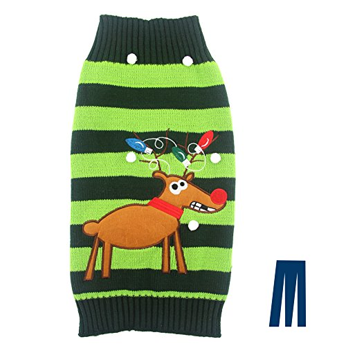 Mikayoo pet sweater for small dog/cat,Ugly Sweater,Color Horizontal Stripes ,Christmas Holiday Xmas, Elk Series, Reindeer series,with Lights and - Christmas Lights Snowball
