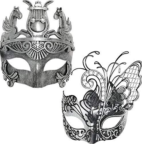 Mikash Couple Masquerade Venetian Luxury Face Mask | Women Silver Butterfly & Men Greek Roman Gladiator | Party, Fancy Ball, Prom, Mardi Gras, Wedding, Wall Tion | One Size | -