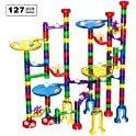 127 Piece Marble Run Set with Glass Marbles