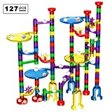Marble Run Set, Glonova 127 Pcs Marble Race Track for Kids with Glass Marbles Upgrade Top Quality Marble Set