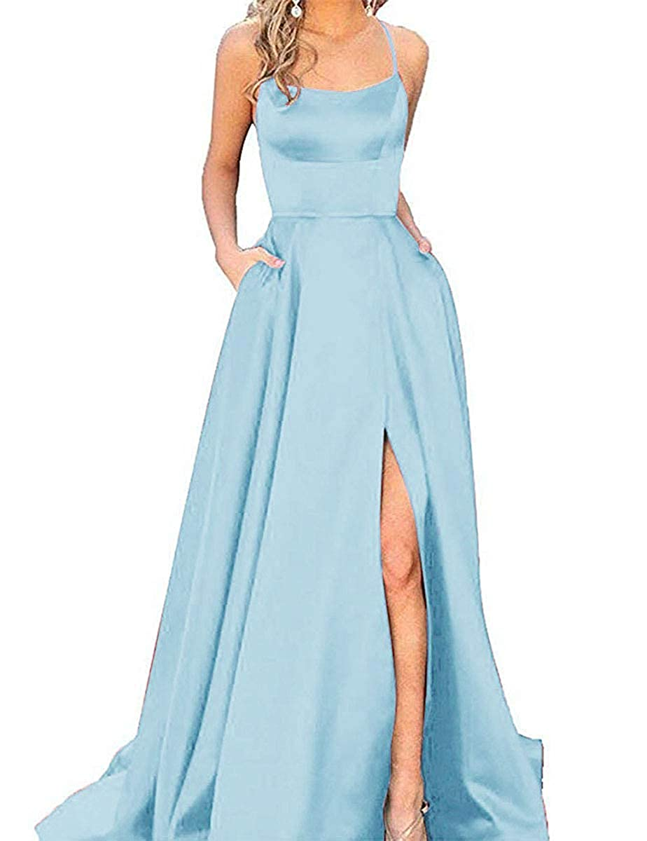 Light bluee ZLQQ Split Formal Evening Gowns Spaghetti Straps Satin Prom Dresses Long with Pockets Womens