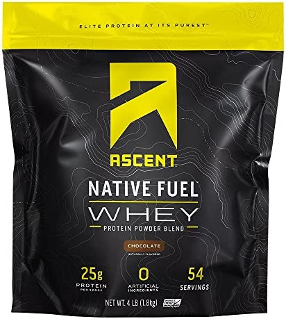 Ascent Native Fuel Whey Protein Powder – Chocolate – 4 lbs