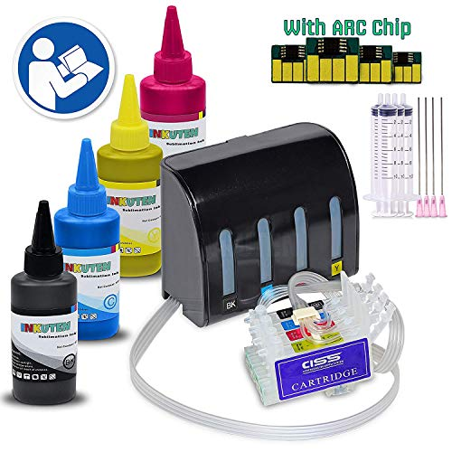INKUTEN - CIS CISS Continuous Ink Supply System for 288XL #288 T288 XP-440 XP-434 XP-330 XP-340 XP-430 with 4x100ml Sublimation Ink Bottle Set