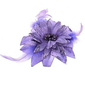 Detalle eDealMax Flor de la Tela en polvo Banda cuerda Broche Goma Para el Pelo púrpura