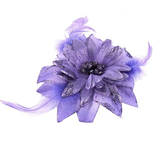 DealMux Fabric Flower Powder Detail Brooch Elastic Hair Rope Band Light Purple
