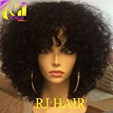 RJ HAIR 8A Grade Malaysian Afro Kinky Curly Short Human Hair Bob Wigs For Black Women Best Guless Short Curly Lace Wigs with Bangs (12inch, Lace Front Wig)