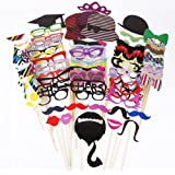 Father.son 76pcs Photo Booth Props DIY Kit for Birthday Party Wedding & Photobooth Reunions Dress-up Costume Accessories with Mustache,Hats,Glasses,Lips,Bowties