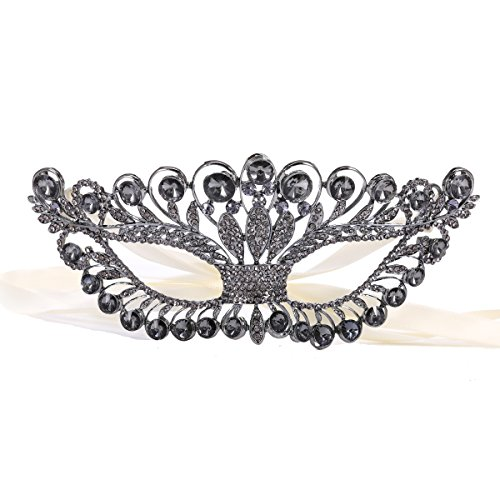 JL Select Sexy Catwoman Evening Masquerade Mask Rhinestone Metal Costume Eye Mask with Ribbon (Grey) -
