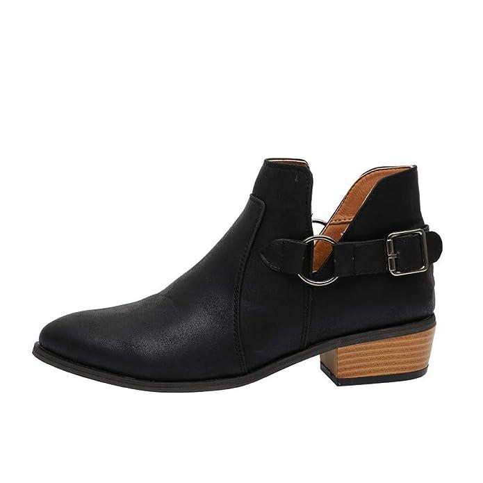 Stiefeletten Damen Chelsea Boots Ankle Leder Blockabsatz Kurzschaft Stiefel 5Cm Absatz Schuhe Winter Elegant Schwarz Weiß Gr.