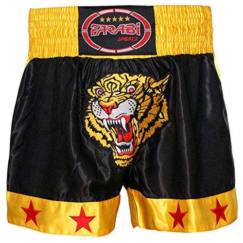 Muay Thai Kick Boxing Training Satin Black Gold Short Tiger Embroidery